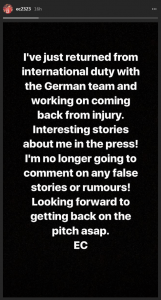 Emre Can's message on Instagram