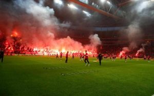 Galatasaray fans setting off flares.