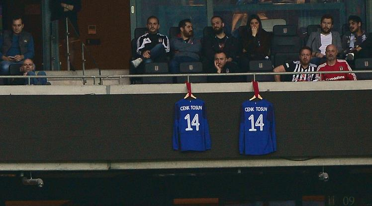 Cenk Tosun's jersey displayed at Vodafone Park as a sign of respect from fans.
