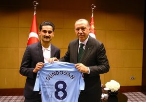 Gundogan gives signed jersey to Erdogan