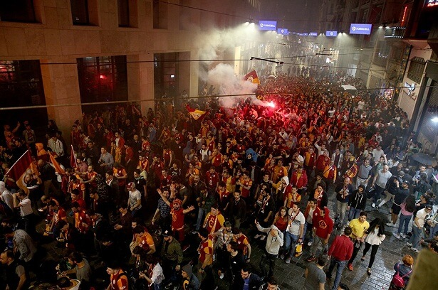 Istanbul's famous istiklal street taken over by Galatasaray fans.