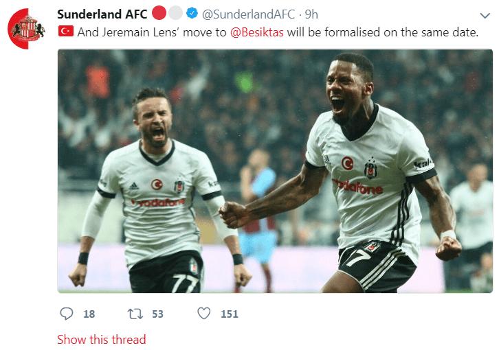 Sunderland twitter message
