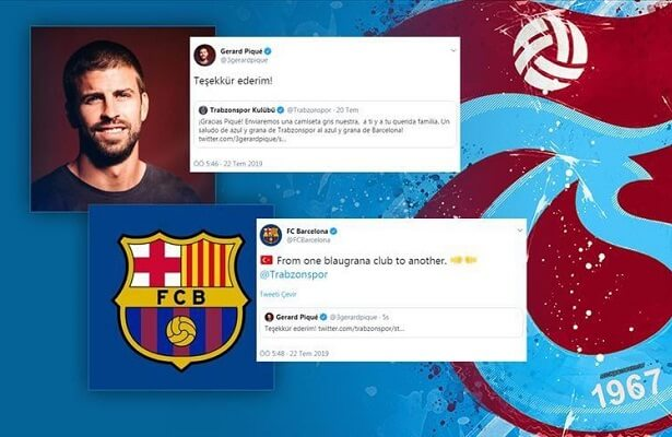 Gerard Pique impressed by Trabzonspor's jersey promo
